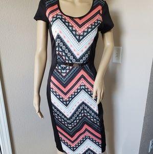 Knee length patterend/color block dress